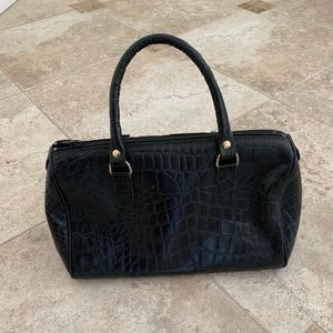 Black genuine leather handbag